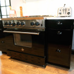 Range blended with metal cabinets