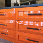 Orange high gloss cabinets